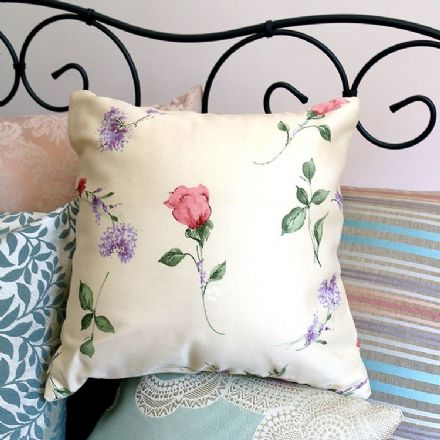 Floral Design Cushion in Cream